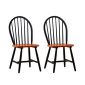 Farmhouse Windsor Dining Chairs, Set of 2, Black/Cherry Finish
