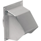 Aluminum Wall Cap, with Backdraft Damper and Bird Screen, Multiple Sizes Available