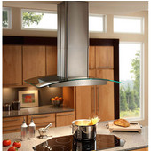 Elite EI59 Series Island Mount Glass and Stainless Chimney Range Hood, 500 CFM, 35-3/8'' W x 25-5/8'' D x 30-1/2'' - 35-1/4'' H