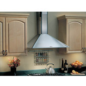 Elite RME5030SS Wall Mount Chimney Style Range Hood, 30'' W x 19 5/8'' D x 33 - 43'' H, Brushed Stainless Steel, 290 CFM