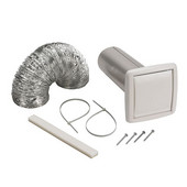 Wall Ducting Kit, Includes 5' of 4'' Dia. flexible foil duct, white wall cap for 4'' round duct, 3'' to 4'' duct adapter, 2 nylon zip ties and mounting screws
