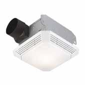 3.5-Sone 70 CFM White Bathroom Fan With Light, 8''W x 8-1/4''D x 5-3/4''H