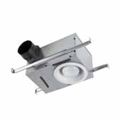 Recessed Bathroom Exhaust Fan With Light and Selectable 50 Or 80 CFM, 8-1/4''W x 12-3/4''D x 6-7/8''H