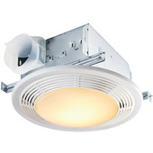 NuTone 100 CFM Fan/Light with Glass Lens and White Polymeric Grille, 100-Watt Incandescent Lighting and 7-Watt Nightlight, Housing: 9'' W x 9'' D x 5-5/8'' H