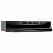 30'' Ductless Under Cabinet Range Hood with Light in Black with EZ1 installation system, 30''W x 17-1/2''D x 6''H