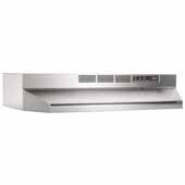 30'' Ductless Under Cabinet Range Hood with Light in Stainless Steel with EZ1 installation system, 30''W x 17-1/2''D x 6''H