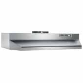 30'' Under Cabinet Range Hood with Light in Stainless Steel with EZ1 installation system, 30''W x 17-1/2''D x 6''H