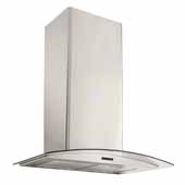 30'' Convertible Wall Mount Curved Glass Chimney Range Hood with LED Light in Stainless Steel, 30''W x 19-3/4''D x 22-5/8''H