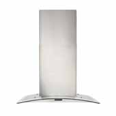 36'' Convertible Wall Mount Curved Glass Chimney Range Hood with LED Light in Stainless Steel, 36''W x 19-3/4''D x 22-5/8''H