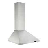 30'' Convertible Wall Mount Chimney Range Hood with LED Light in Stainless Steel, 30''W x 19-3/4''D x 26-5/8''H