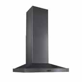Elite Chimney Hood 500 CFM 30'' Black Stainless Steel, 30''W X 20''D X 26-1/2''H
