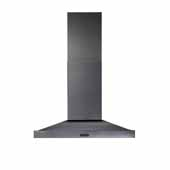 Elite Chimney Hood 500 CFM 36'' Black Stainless Steel, 36''W X 20''D X 26-1/2''H