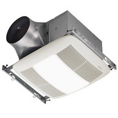 NuTone Ultra Green ™ 50 CFM Single-Speed Ventilation Fan with Lighting and with White Grille, <0.3 Sones, Energy Star ®, Housing: 11-3/8'' W x 10-1/2'' D x 7-5/8'' H