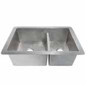 Cocina Duet 60/40 Double Bowl Kitchen Sink In Brushed Nickel, 33''W X 21''D X 10-1/2''H