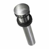 Push To Seal Dome Drain In Brushed Nickel, 2-1/8''Diameter X 9-1/4''H, Fits 1-1/2'' Drain Opening