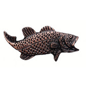 Fish Collection 2-3/8'' Wide Bass Right Face Cabinet Knob in Antique Brass, 2-3/8'' W x 3/4'' D x 1-1/4'' H