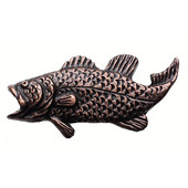 Fish Collection 2-3/8'' Wide Bass Left Face Cabinet Knob in Antique Brass, 2-3/8'' W x 3/4'' D x 1-1/4'' H