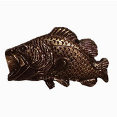 Fish Collection 1-15/16'' Wide Bass Cabinet Knob in Antique Brass, 1-15/16'' W x 3/4'' D x 1-1/4'' H