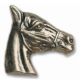 Southwest Collection 2'' Wide Horse Head Stallion Cabinet Knob in Antique Brass, 2'' W x 3/4'' D x 2'' H