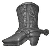 Southwest Collection 2-11/16'' Wide Cowboy Boot Left Face Cabinet Knob in Antique Brass, 2-11/16'' W x 1'' D x 2-1/2'' H