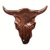 Southwest Collection 2-3/8'' Wide Steer Skull Cabinet Knob in Antique Brass, 2-3/8'' W x 3/4'' D x 2-1/4'' H