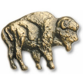 Wildlife Collection 1-3/4'' Wide Buffalo Cabinet Knob in Antique Brass, 1-3/4'' W x 3/4'' D x 1-3/8'' H