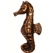 Tropical Collection 1'' Wide Sea Horse Cabinet Knob in Antique Brass, 1'' W x 3/4'' D x 1-15/16'' H