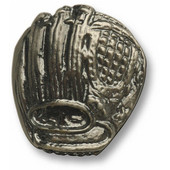 Sports Collection 1-1/2'' Wide Baseball Glove Cabinet Knob in Antique Brass, 1-1/2'' W x 3/4'' D x 1-5/8'' H