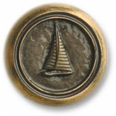 Nautical Collection 1-1/8'' Diameter Small Sailboat Round Cabinet Knob in Antique Brass, 1-1/8'' Diameter x 3/4'' D x 1-1/8'' H