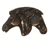 Southwest Collection 1-15/16'' Wide Dual Horse Heads Cabinet Knob in Antique Brass, 1-15/16'' W x 3/4'' D x 1-1/4'' H