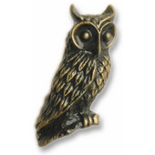 Wildlife Collection 3/4'' Wide Horned Owl Cabinet Knob in Antique Brass, 3/4'' W x 7/8'' D x 1-5/8'' H
