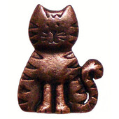 Whimsical Collection 1-5/6'' Wide Cat Cabinet Knob in Antique Brass, 1-5/6'' W x 3/4'' D x 2-1/8'' H