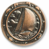 Nautical Collection 1-5/8'' Diameter Sailboat in Porthole Round Cabinet Knob in Antique Brass, 1-5/8'' Diameter x 11/16'' D x 1-5/8'' H