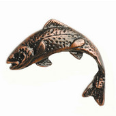 Fish Collection 2-1/2'' Wide Jumping Trout Left Face Cabinet Knob in Antique Brass, 2-1/2'' W x 3/4'' D x 2-1/8'' H