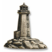 Nautical Collection 1-3/4'' Wide Stand-Alone Lighthouse Cabinet Knob in Antique Brass, 1-3/4'' W x 3/4'' D x 1-7/8'' H