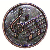 Whimsical Collection 1-7/16'' Diameter Musical Notes Round Cabinet Knob in Antique Brass, 1-7/16'' Diameter x 3/4'' D x 1-7/16'' H