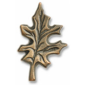 Leaves & Trees Collection 1-3/8'' Wide Oak Leaf Cabinet Knob in Antique Brass, 1-3/8'' W x 3/4'' D x 2-3/16'' H