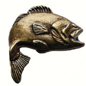 Fish Collection 2'' Wide Big Bass 2 Cabinet Knob in Antique Brass, 2'' W x 7/8'' D x 2'' H