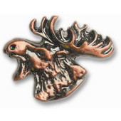 Wildlife Collection 1-5/8'' Wide Mr. Moosehead Left Face Cabinet Knob in Antique Brass, 1-5/8'' W x 3/4'' D x 1-1/4'' H