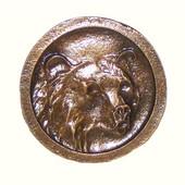 Wildlife Collection 1-11/16'' Wide Bear In Round Cabinet Knob in Antique Brass, 1-11/16'' Diameter x 3/4'' D x 1-11/16'' H