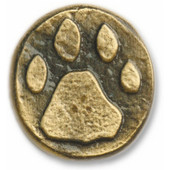 Wildlife Collection 1-3/8'' Diameter Stone Wolf Track Round Cabinet Knob in Antique Brass, 1-3/8'' Diameter x 3/4'' D x 1-1/2'' H