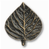 Leaves & Trees Collection 1-5/16'' Wide Single Aspen Leaf Cabinet Knob in Antique Brass, 1-5/16'' W x 3/4'' D x 1-1/2'' H
