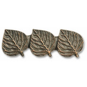 Leaves & Trees Collection 3-5/8'' Wide Triple Aspen Leaf Cabinet Pull in Antique Brass, 3-5/8'' W x 3/4'' D x 1-1/4'' H, Center to Center: 2-15/16''
