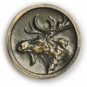 Wildlife Collection 1-3/4'' Wide Moose In Round Cabinet Knob in Antique Brass, 1-3/4'' Diameter x 3/4'' D x 1-3/4'' H
