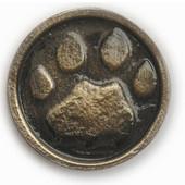 Wildlife Collection 1-3/4'' Diameter Wolf Track In Round Cabinet Knob in Antique Brass, 1-3/4'' Diameter x 3/4'' D x 1-3/4'' H