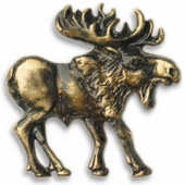 Wildlife Collection 2-1/8'' Wide Walking Moose Right Face Cabinet Knob in Antique Brass, 2-1/8'' W x 3/4'' D x 2-1/8'' H