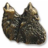 Wildlife Collection 1-3/4'' Wide Dual Howling Wolf Cabinet Knob in Antique Brass, 1-3/4'' W x 3/4'' D x 1-5/8'' H