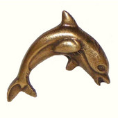 Tropical Collection 1-7/8'' Wide Dolphin #2 Cabinet Knob in Antique Brass, 1-7/8'' W x 3/4'' D x 1-3/4'' H