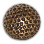Sports Collection 1-1/4'' Wide Small Golf Ball Cabinet Knob in Antique Brass, 1-1/4'' Diameter x 1'' D x 1-1/4'' H