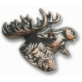Wildlife Collection 1-5/8'' Wide Mr. Moosehead Right Face Cabinet Knob in Antique Brass, 1-5/8'' W x 3/4'' D x 1-5/16'' H